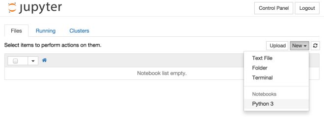 Jupyter - notebook list empty
